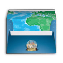 World Travel Snow Globe Bar Bat Mitzvah Envelope
