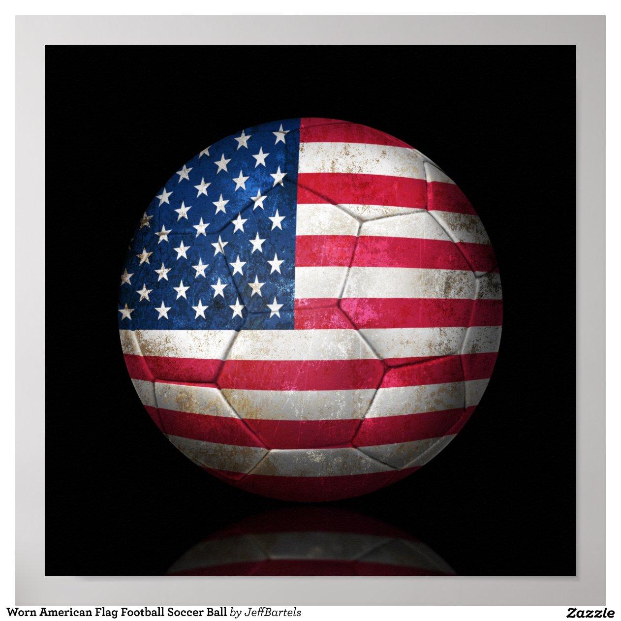 Worn American Flag Football Soccer Ball Poster