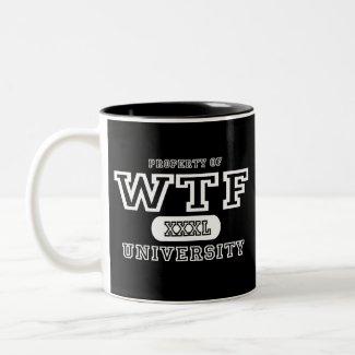 WTF University Dark mug