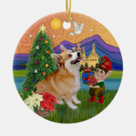Xmas Fantasy - Pembroke Welsh Corgi 7b Christmas Ornament