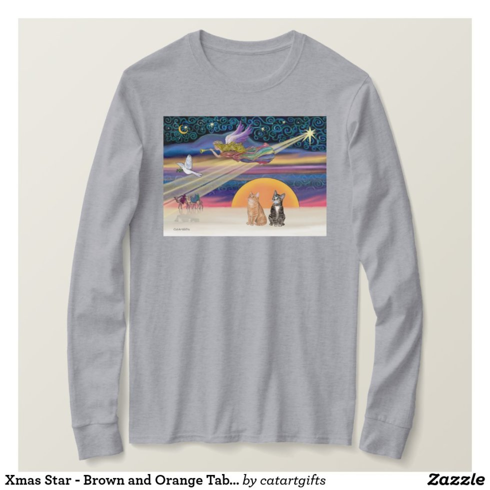 Xmas Star - Brown and Orange Tabby cats (two) T-Shirt