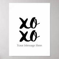 XOXO Hugs and Kisses Romantic Quote Wall Art | Zazzle