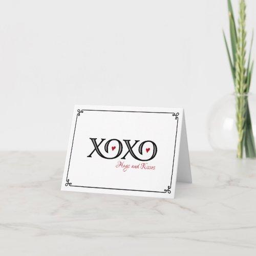 XOXO Hugs & Kisses Valentine's Day Note Card