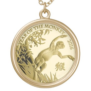 Year of the Monkey 2016 Coin Gold Plated Necklace