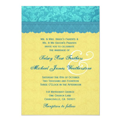 Yellow and Aqua Blue Damask Wedding G500B