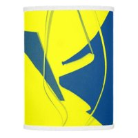 YELLOW AND BLUE ABSTRACT WITH WHITE TRIM SHADE LAMP SHADE ...