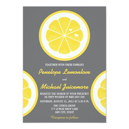 YELLOW AND GRAY LEMON THEMED WEDDING CARD