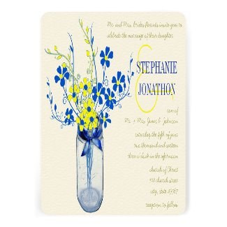 Yellow and Navy Blue Mason Jar Wild Flower Wedding Personalized Invite