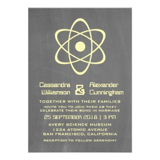 Yellow Atomic Chalkboard Wedding Invite