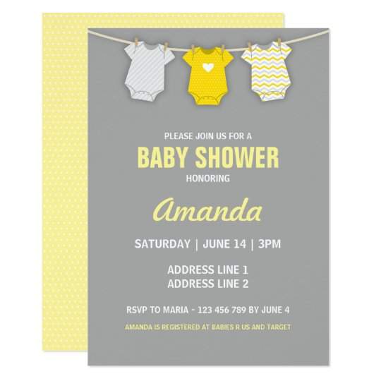 Yellow Baby Shower Invitation Clothesline Theme