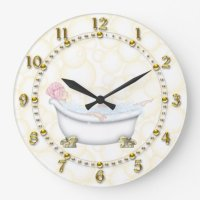 Yellow Bathroom Bubbles Wall Clocks
