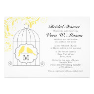 Yellow Birdcage With Love Birds Bridal Shower