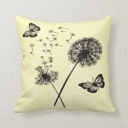 Yellow Black Butterflies Dandelion Wishes Pillow C