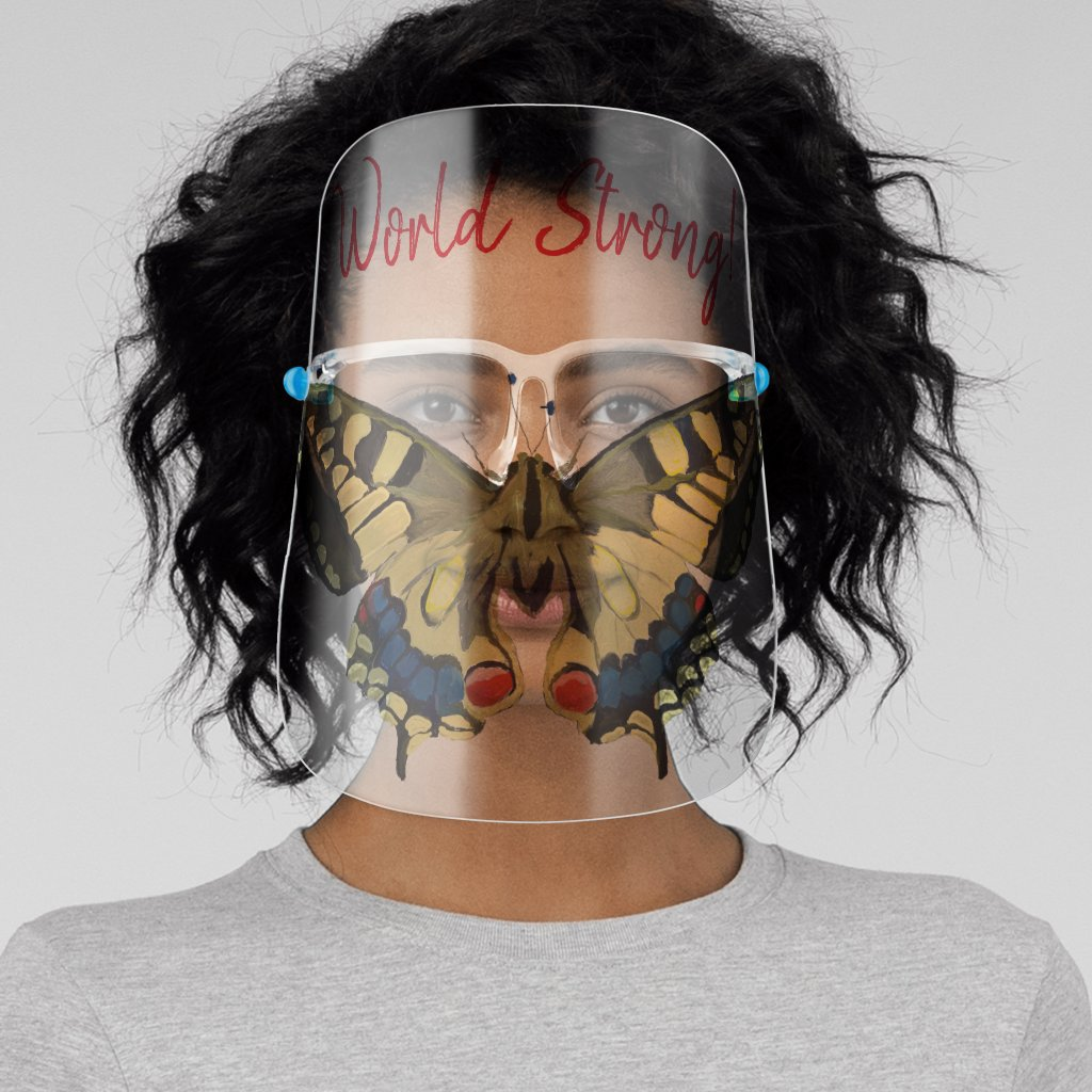 Yellow Butterfly World Strong Face Shield