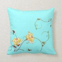 Yellow Flowers,Turquoise Throw Pillow | Zazzle
