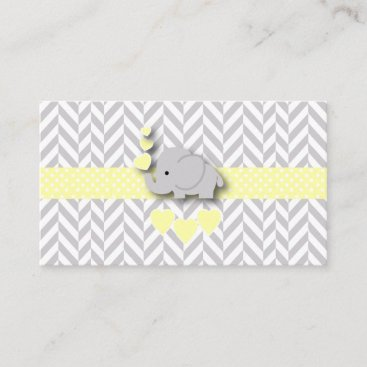 Yellow Gray Elephant Baby Shower Diaper Raffle Enclosure Card