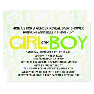 Yellow & Green Typography Gender Reveal Party Card