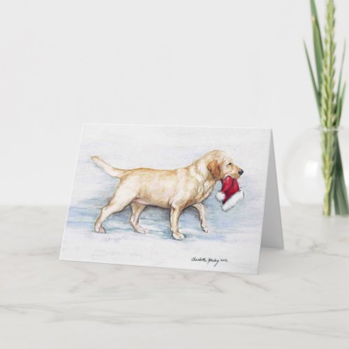 Yellow Lab Hat Delivery Dog Art Greeting Card