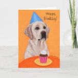 Yellow Labrador Birthday  Cupcake Painting Card