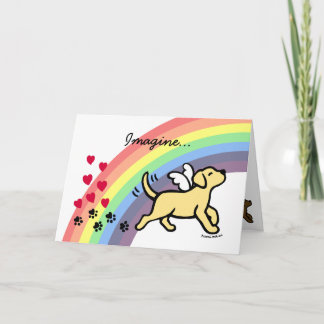 Yellow Labrador Hearts Rainbow Bridge Card