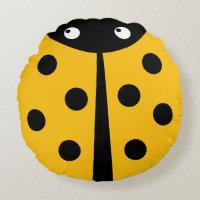 Yellow Ladybug Round Throw Pillow