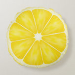 ❤️ Yellow Lemon Fruit Slice by Cindy Bendel Round Pillow