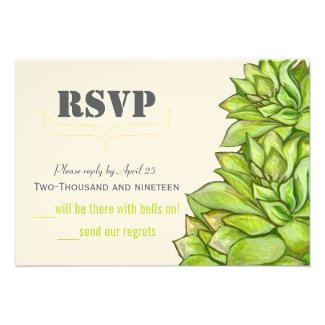 Yellow Lime Succulent Modern Typography Wedding