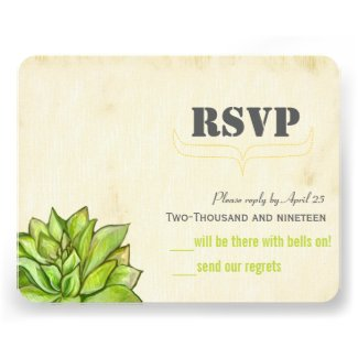 Yellow Lime Succulent Modern Typography Wedding Announcement