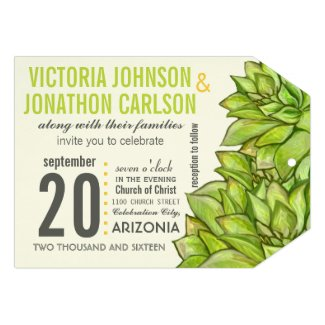 Yellow Lime Succulent Modern Typography Wedding Invites