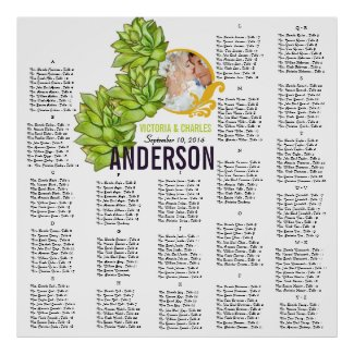 Yellow Lime Succulent Modern Typography Wedding Print