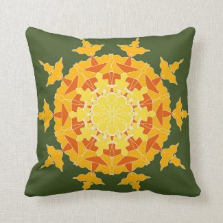Yellow orange mandala on green