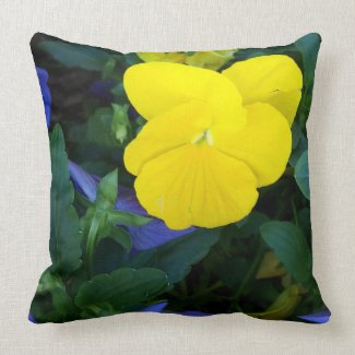 Yellow Pansy Spring Flowers Floral Accent Pillow throwpillow