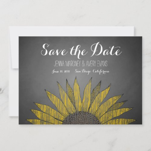 Yellow Sunflower Chalk Save the Date