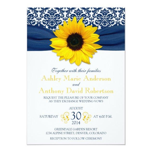 Yellow Sunflower Navy Blue Damask Ribbon Wedding Card Zazzle
