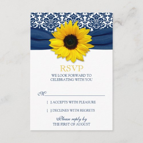 Yellow Sunflower Navy Damask Ribbon Wedding RSVP