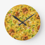 Yellow sunflower pattern round wallclock