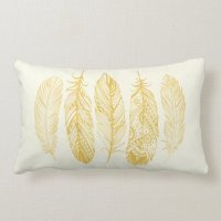 Yellow Watercolor Feather Tribal Print Pillow | Zazzle