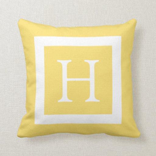 Yellow White Custom Monogram Throw Pillow  Zazzle