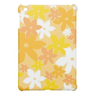 Yellow white florals - iPad case