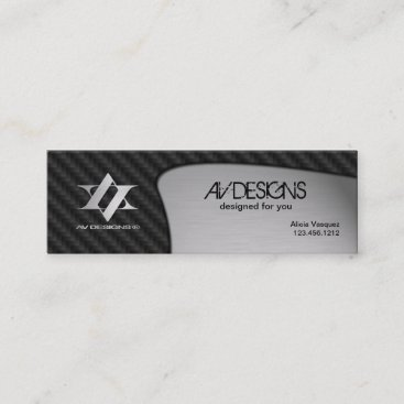 Yin Yang Abstract Carbon / Brushed Aluminum Mini Business Card