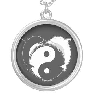 Yin Yang Dolphins Black/White Custom Necklace