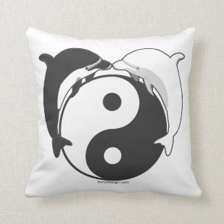 Yin Yang Dolphins Black/White Throw Pillow