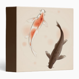 Yin Yang Koi fishes in oriental style painting 3 Ring Binder