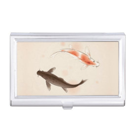 Yin Yang Koi fishes in oriental style painting Business Card Holder