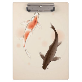 Yin Yang Koi fishes in oriental style painting Clipboard
