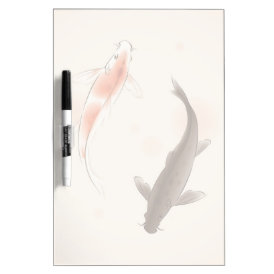 Yin Yang Koi fishes in oriental style painting Dry-Erase Board
