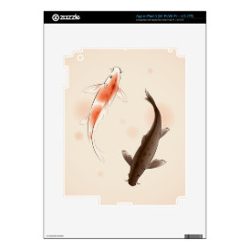 Yin Yang Koi fishes in oriental style painting iPad 3 Decals