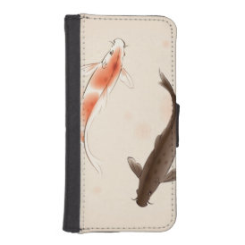 Yin Yang Koi fishes in oriental style painting iPhone SE/5/5s Wallet Case