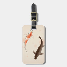 Yin Yang Koi fishes in oriental style painting Luggage Tag