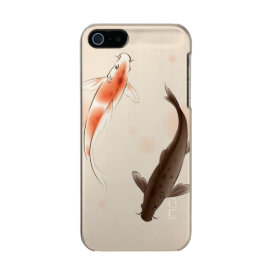 Yin Yang Koi fishes in oriental style painting Metallic Phone Case For iPhone SE/5/5s